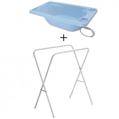 Banheira de Bebê Azul Pastel Rigída Plastica Galzerano + Suporte