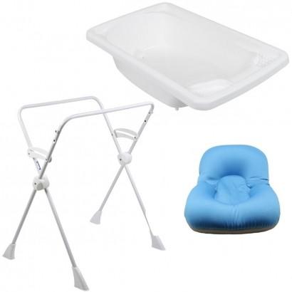 Banheira de Bebê com Suporte Burigotto e Almofada de Banho Azul