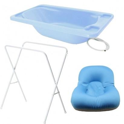 Banheira Para Bebe Plastica Azul Com Suporte Galzerano E Almofada Azul