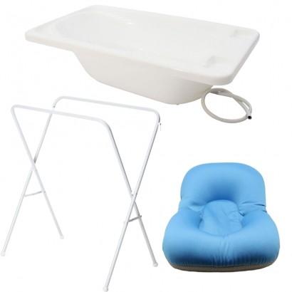 Banheira Para Bebe Plastica Branco Com Suporte Galzerano E Almofada Azul