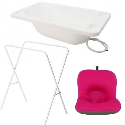 Banheira Para Bebe Plastica Branco Com Suporte Galzerano E Almofada Rosa
