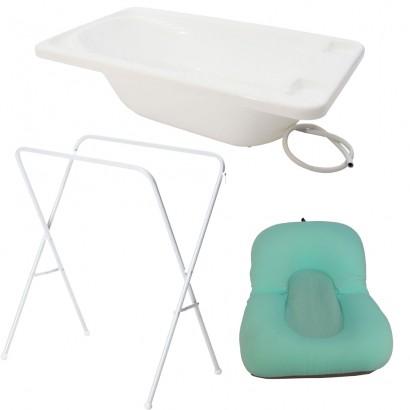 Banheira Para Bebe Plastica Branco Com Suporte Galzerano E Almofada Verde