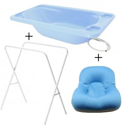 Banheira Para Bebe Plastica Com Suporte Galzerano E Almofada de Banho
