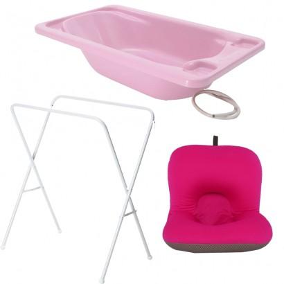 Banheira Para Bebe Plastica Rosa Com Suporte Galzerano E Almofada Rosa