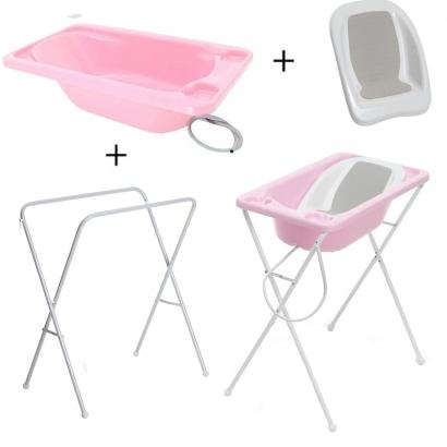 Banheira Para Bebe Plastica Rosa Suporte Galzerano E Redutor