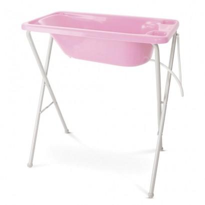 Banheira Rosa Claro Rigída Plastica Bebê Suporte Galzerano