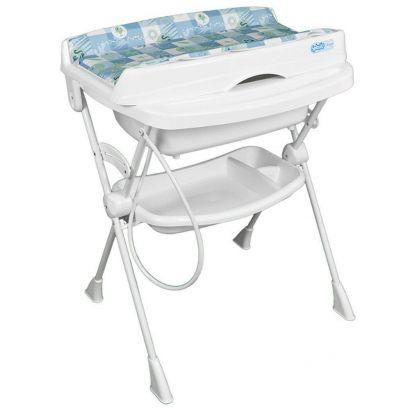 Banheira Banho Bebê Com Suporte Trocador e Redutor Splash Peixinho Azul Burigotto