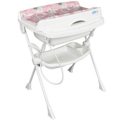 Banheira Banho Bebê Com Suporte Trocador e Redutor Splash Peixinhos Rosa Burigotto