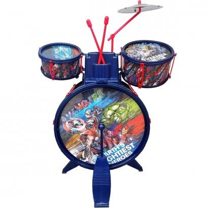 Bateria Musical Infantil Vingadores A partir dos 4 Anos Com Banquinho Toyng