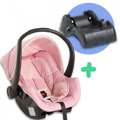 Bebê Conforto Cadeirinha Cocoon 0 Até 13Kg Rosa + Base Cocoon Auto Galzerano