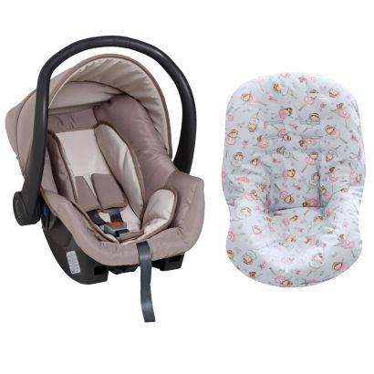 Bebê Conforto Cappuccino + Capa Para Bebê Conforto Bailarina Cinza/Rosa