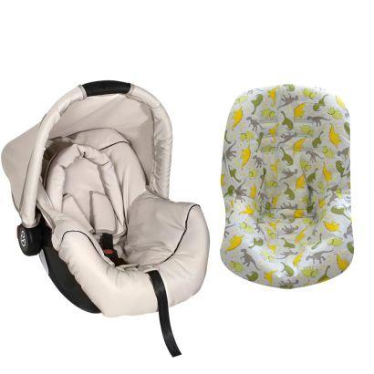 Bebê Conforto Preto/Begê + Capa Para Bebê Conforto Dinossauro Cinza