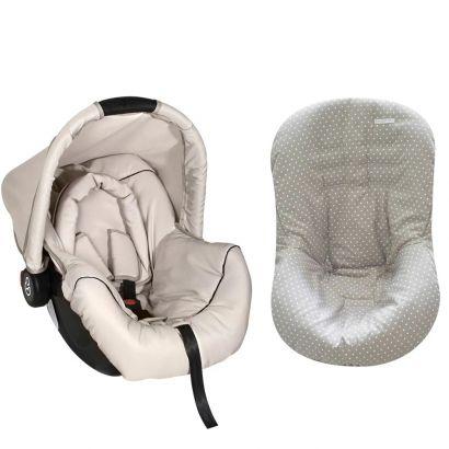 Bebê Conforto Preto/Begê + Capa Para Bebê Conforto Estrela Cinza