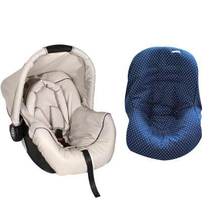 Bebê Conforto Preto/Begê + Capa Para Bebê Conforto Estrela Marinho