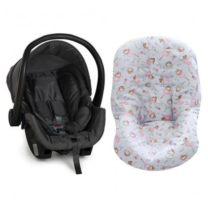 Bebê Conforto Preto + Capa Para Bebê Conforto Bailarina Cinza/Rosa