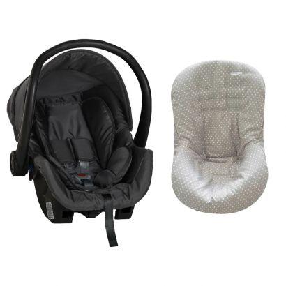 Bebê Conforto Preto + Capa Para Bebê Conforto Estrela Cinza