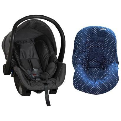 Bebê Conforto Preto + Capa Para Bebê Conforto Estrela Marinho