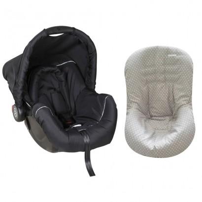 Bebê Conforto Preto/Cinza + Capa Para Bebê Conforto Estrela Cinza