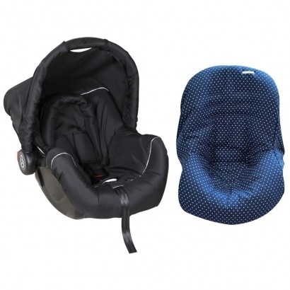 Bebê Conforto Preto/Cinza + Capa Para Bebê Conforto Estrela Marinho