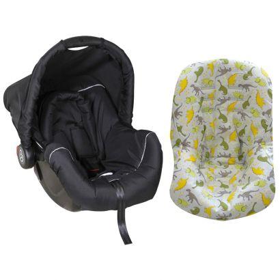 Bebê Conforto Preto/Cinza + Capa Pra Bebê Conforto Dinossauro Cinza