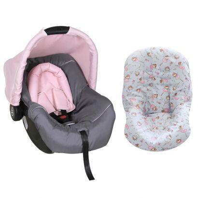 Bebê Conforto Preto/Grafite/Rosa + Capa Para Bebê Conforto Bailarina Cinza/Rosa