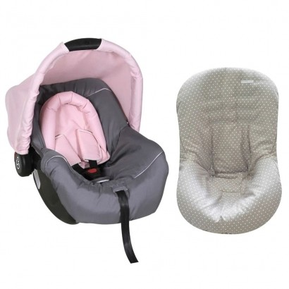 Bebê Conforto Preto/Grafite/Rosa + Capa Para Bebê Conforto Estrela Cinza