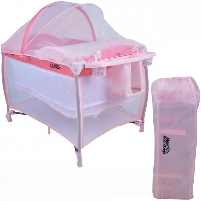 Berço de Bebê com Trocador e Mosquiteiro De 0 a 15kg com 2 Alturas New Aconchego Rosa - Burigotto