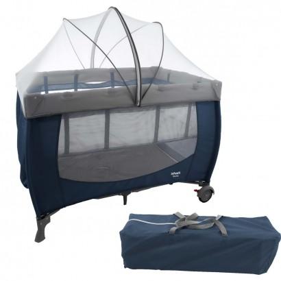 Berço de Bebê Portátil Com Trocador Mosquiteiro Compacto Para Viagem Stelle Infanti Azul Cozy