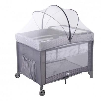 Berço de Bebe Portatil Pratico Sereno Infanti Grey Hail
