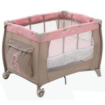 Berço Sonho Infantil Portátil Dobrável Cappucino Rosa Até 18 Kg Galzerano