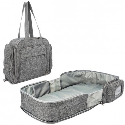 Bolsa Bercinho Maternidade Bebe Infantil Nest Diversos Compartimentos Cinza - Kababy
