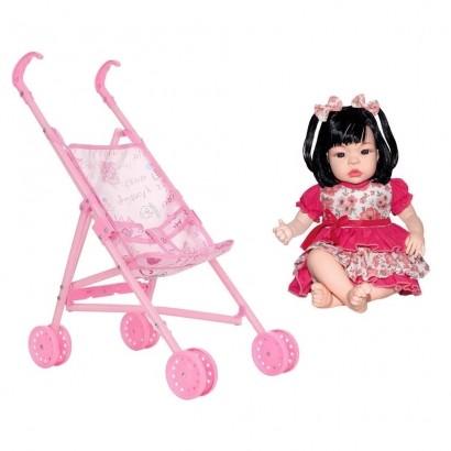 Boneca Infantil Baby Kiss Morena Sid-Nyl + Carrinho de Boneca Dobrável Polibrinq