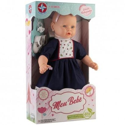 Boneca Meu Bebe Veste Azul Com Pingente de Pulseira - Estrela
