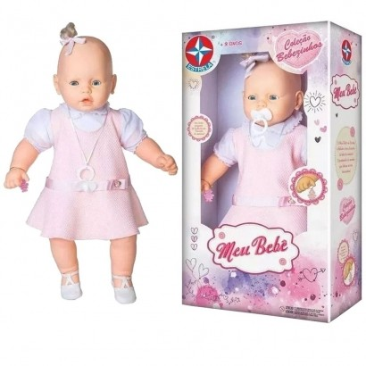 Boneca Meu Bebe Veste Rosa Com Pingente de Pulseira - Estrela