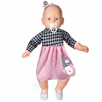 Boneca Meu Bebe Veste Rosa/Xadrex Com Pingente de Pulseira - Estrela