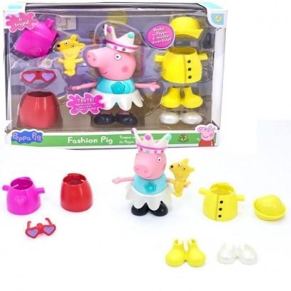 Boneca Peppa Fashion Pig Falante Com Acessórios E Roupas DTC 4704