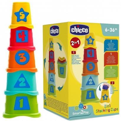 Brinquedo de Bebê Copos Geométricos 2 em 1 Vira Torre Encaixe Infantil 10 - 36 Meses Chicco