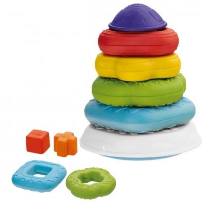 Brinquedo de Bebê Torre Com Encaixes Geométricos e Aneis 2 em 1 6 - 36 Meses Chicco