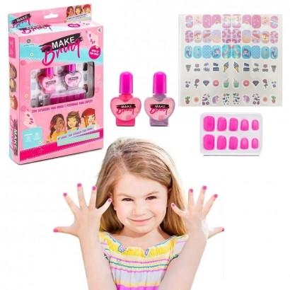 Brinquedo Kit de Unhas Infantil Criança Com Esmaltes Adesivos Polibrinq