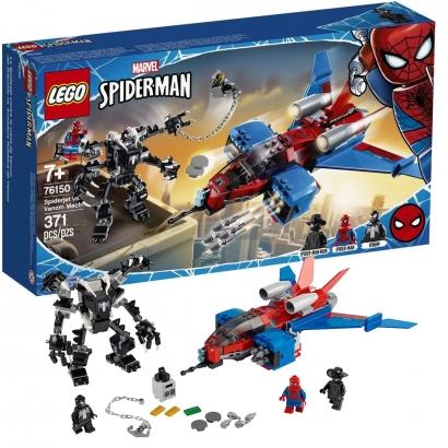 Brinquedo LEGO Homem Aranha Jet Vs Venom Maquina +7 Anos 371 Peças