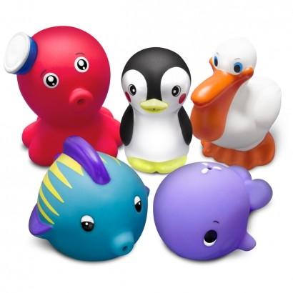 Brinquedo Para Banho Bebê Infantil Animais Marinhos 2 Acima dos 9 Meses Comtac Kids Care