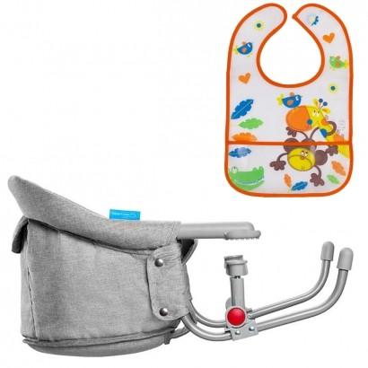 Cadeira De Alimentação Bebê Refeição Encaixe Na Mesa Click Clip Multikids + Babador Infantil