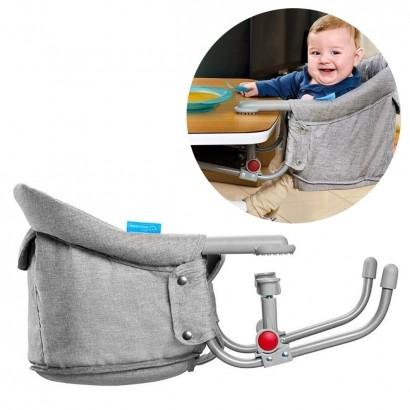 Cadeira De Alimentação Bebê Refeição Encaixe Na Mesa Click Clip Multikids Cinza