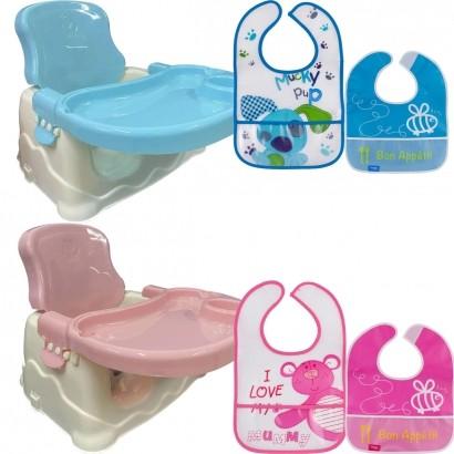 Cadeira de Refeição Infantil Bebê Booster Com Babador Infantil - Brinqway