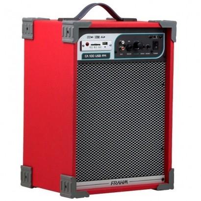 Caixa De Som Frahm Amplificada Ca-100 Usb Sd Fm Vermelha