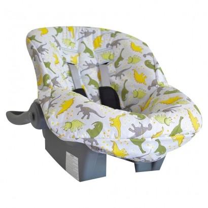 Capa de Bebe Conforto Tecido Estampa de Dinossauro Cinza
