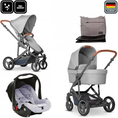 Carrinho Bebê Travel System Reversível Como 4 De 0 a 22kg com Bebê Conforto Risus, Moisés, Bolsa Organizadora Abc Design