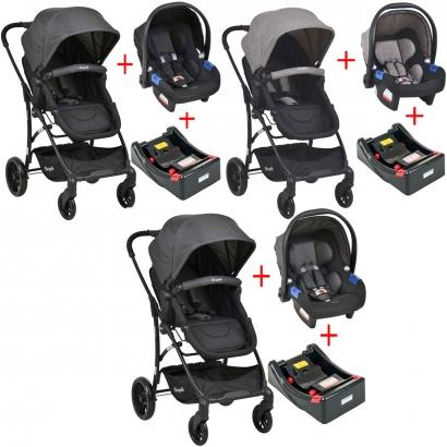 Carrinho de Bebe Burigotto Convert Travel System 3 em 1 Passeio Reversivel De 0 até 15Kg Reclinavel Moisés + Bebê Conforto Touring X De 0 a 13kg + Base para Carro