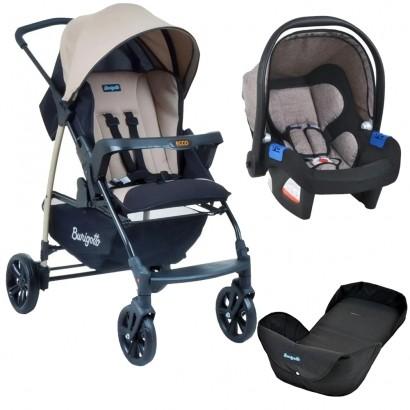 Carrinho de Bebê Burigotto Ecco Reversível Bege+ Bebê Conforto Touring X Cappuccino + Ninho Neonato