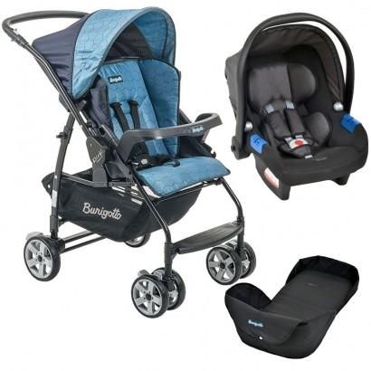 Carrinho de Bebê Burigotto Rio K Reversível Azul + Bebê Conforto Touring X Dark Gray + Ninho Neonato